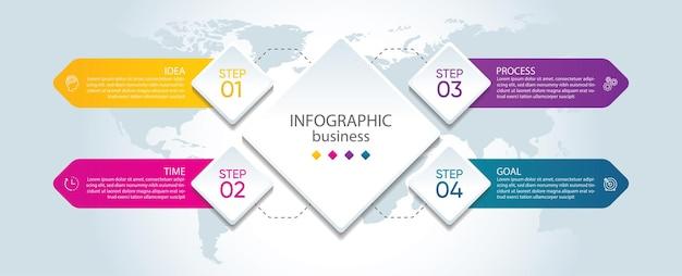 Modèle d'infographie de présentation entreprise avec 4 étapes
