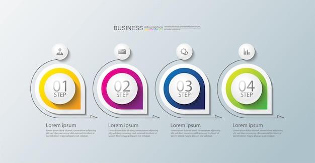 Modèle d'infographie de présentation d'entreprise avec 4 étapes