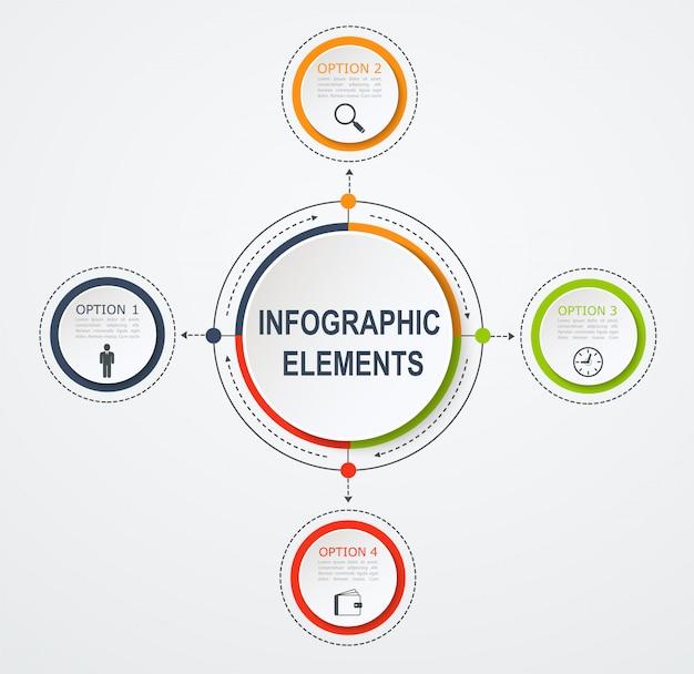 Modèle d'infographie de présentation entreprise avec 4 options. concept d'entreprise avec des cercles intégrés.