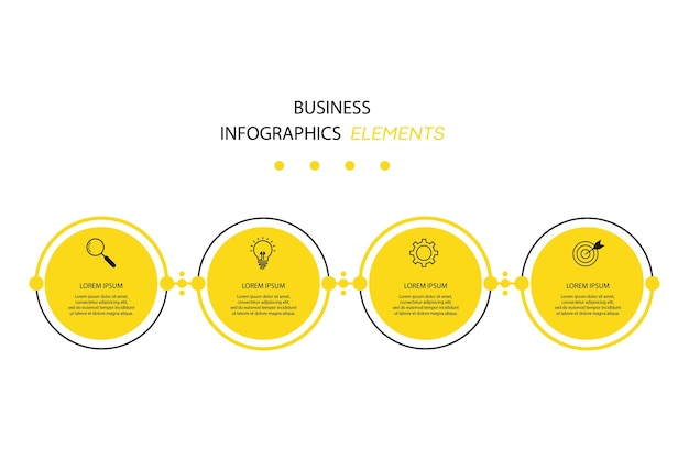 Modèle d'infographie de présentation entreprise avec 4 options.