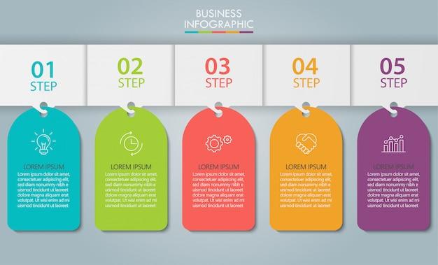Modèle d'infographie de présentation entreprise avec 5 options.