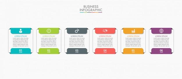 Modèle d'infographie de présentation entreprise avec 6 options.