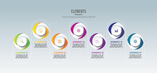 Modèle d'infographie de présentation entreprise cercle éléments colorés avec 7 étapes