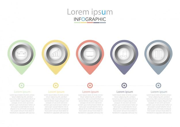 Modèle d'infographie de présentation entreprise avec cinq options. illustration vectorielle