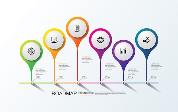Modèle d'infographie de présentation entreprise coloré avec 6 étapes