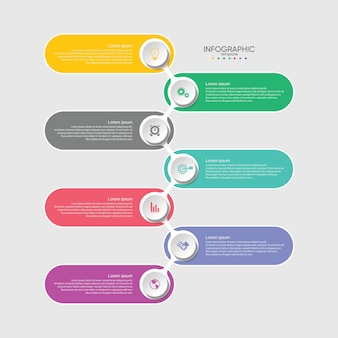 Modèle d'infographie de présentation entreprise coloré avec 7 étapes