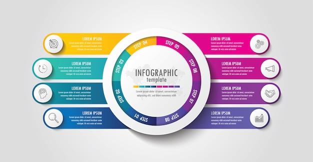 Modèle d'infographie de présentation entreprise coloré avec 8 étapes