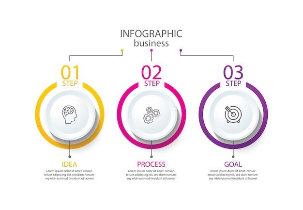 Modèle d'infographie de présentation entreprise avec étape