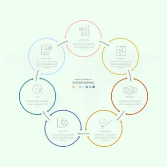 Modèle d'infographie de présentation entreprise avec icônes et 7 options ou étapes.