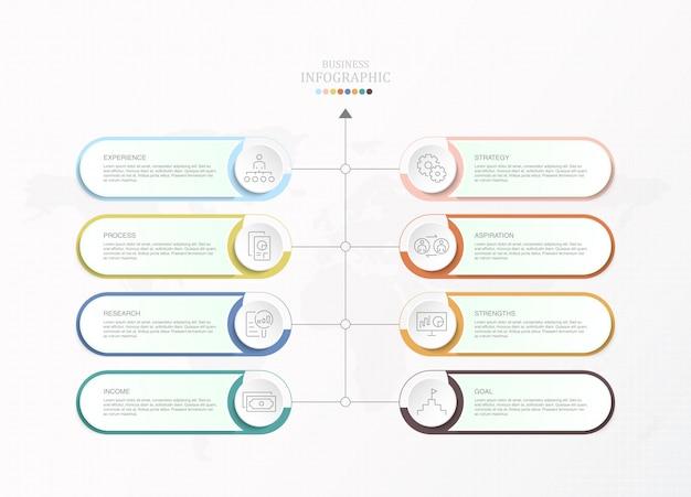 Modèle d'infographie de présentation entreprise avec icônes et 8 options ou étapes.