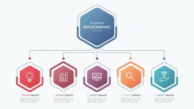 Modèle d'infographie de présentation d'entreprise avec des options.