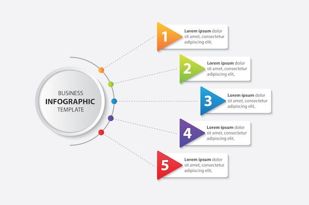 Modèle d'infographie de présentation entreprise avec le vecteur 5 étapes