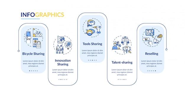 Modèle d'infographie de prêt entre pairs. biens, services échangent des éléments de conception de présentation. visualisation des données en cinq étapes. diagramme chronologique du processus. disposition du flux de travail avec des icônes linéaires