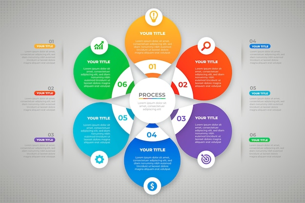 Modèle d'infographie de processus de dégradé