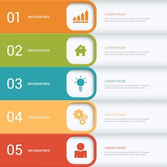 Modèle d'infographie de processus d'étapes multicolores