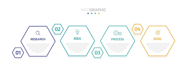 Modèle d'infographie de processus métier avec options ou étapes. disposition de papier moderne avec une fine ligne. graphique d'illustration.