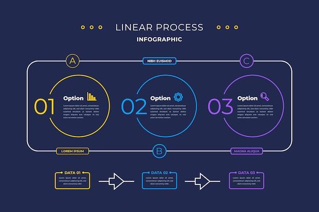 Modèle d'infographie de processus plat linéaire