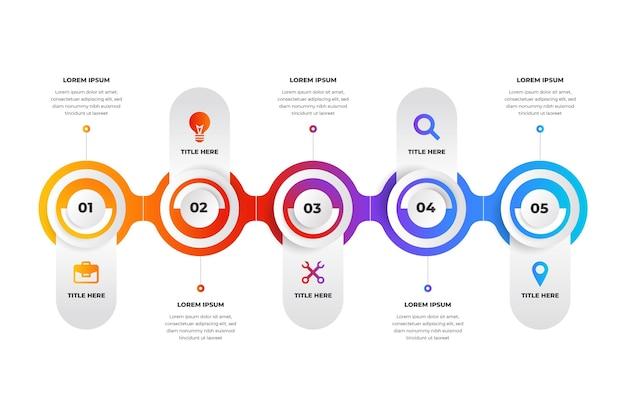 Modèle d'infographie de processus plat