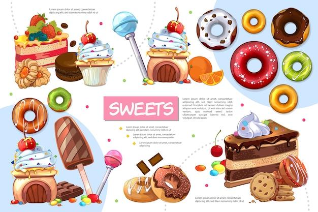 Modèle d'infographie de produits sucrés plats
