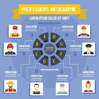 Modèle d'infographie de professions, style plat