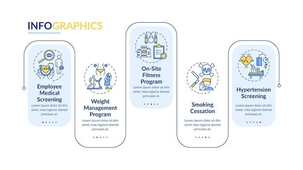 Modèle d'infographie de programmes de bien-être de l'espace de travail. checkups, arrêtez de fumer des éléments de conception de présentation. visualisation des données avec des étapes. diagramme chronologique du processus. disposition du flux de travail avec des icônes linéaires