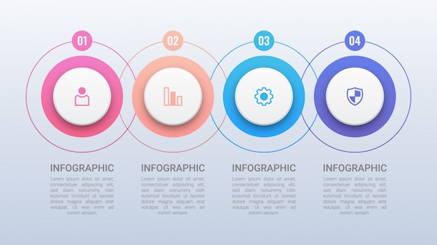 Modèle d'infographie quatre cercles colorés
