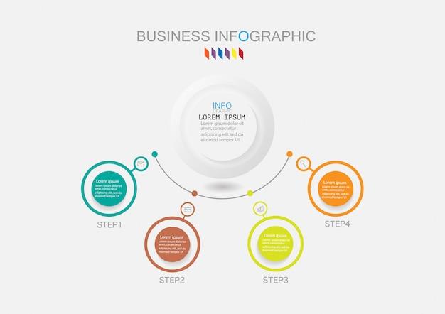 Modèle d'infographie à quatre étapes ou diagramme de processus d'options