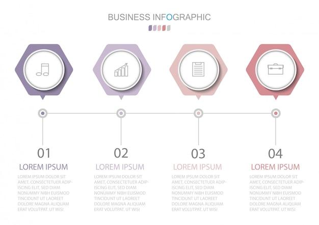 Modèle d'infographie avec quatre étapes ou options