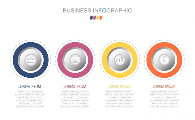 Modèle d'infographie en quatre étapes