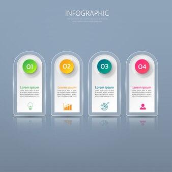 Modèle d'infographie en quatre étapes.