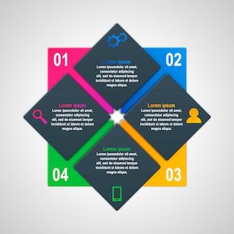 Modèle d'infographie avec quatre options dans le style des matériaux. il peut être utilisé comme un graphique, une bannière numérotée, une présentation, un graphique, un rapport, un site web, etc.