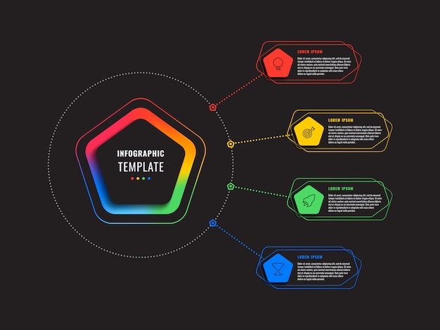 Modèle d'infographie quatre options avec pentagones et éléments polygonaux sur fond noir. visualisation de processus d'affaires moderne avec des icônes de marketing en ligne mince. illustration vectorielle eps 10