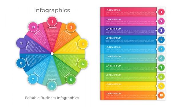 Modèle d'infographie de roue colorée