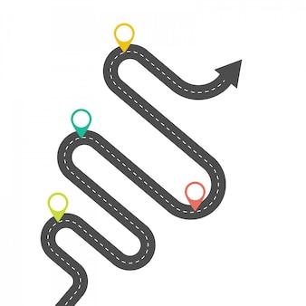 Modèle d'infographie. route goudronnée courbée avec des aiguilles.