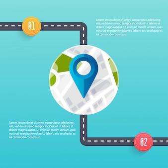 Modèle d'infographie de route. illustration.