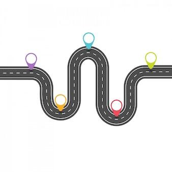 Modèle d'infographie. route incurvée avec un pointeur de couleur.