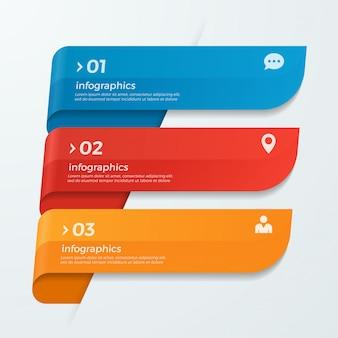 Modèle d'infographie avec rubans bannières de flèches 3 options