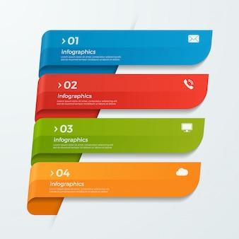 Modèle d'infographie avec rubans bannières de flèches 4 options