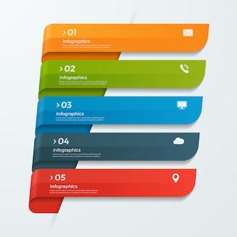 Modèle d'infographie avec rubans bannières de flèches 5 options