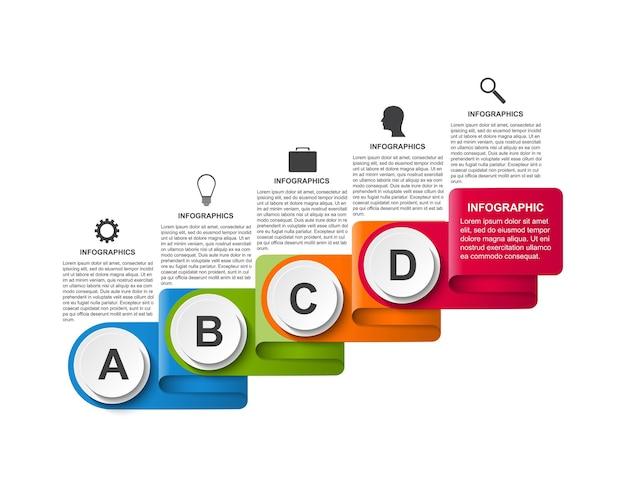 Modèle d'infographie avec des rubans. infographie