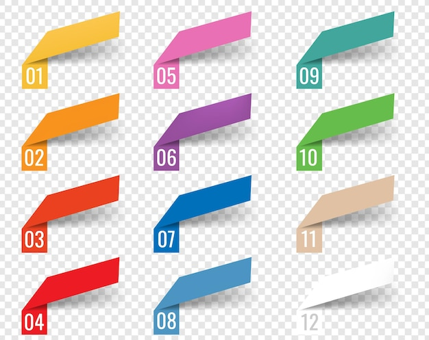 Modèle d'infographie rubans web fond blanc avec filet de dégradé,