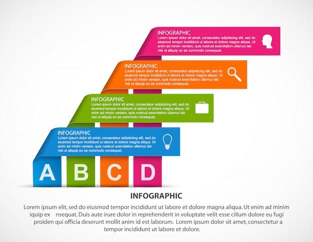 Modèle d'infographie avec des rubans.