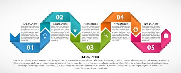 Modèle d'infographie avec des rubans