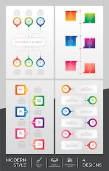 Modèle d'infographie sertie de style moderne et concept coloré