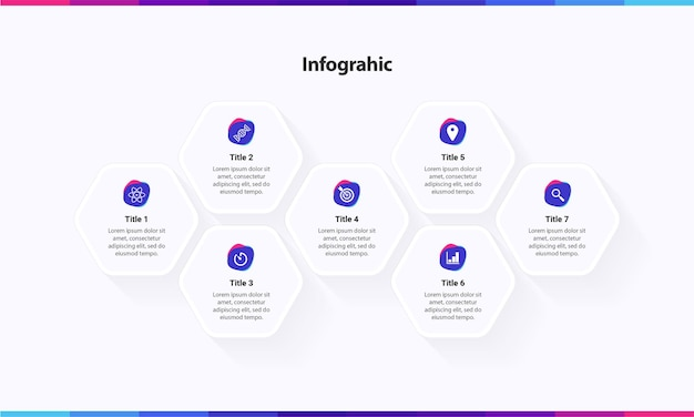 Modèle d'infographie avec services d'options en 7 étapes avec hexagone