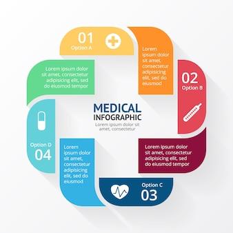 Modèle d'infographie signe plus présentation des soins médicaux symbole de la santé logo de l'hôpital