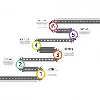 Modèle d'infographie. six étapes zigzaguent sur la route goudronnée.