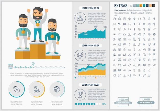 Modèle d'infographie sport design plat et ensemble d'icônes