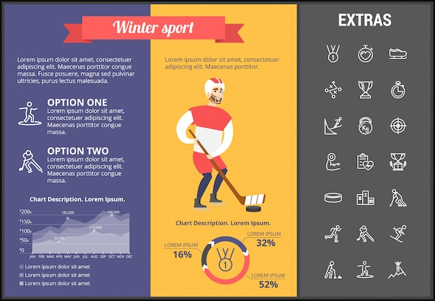 Modèle d'infographie de sport d'hiver, éléments, icônes