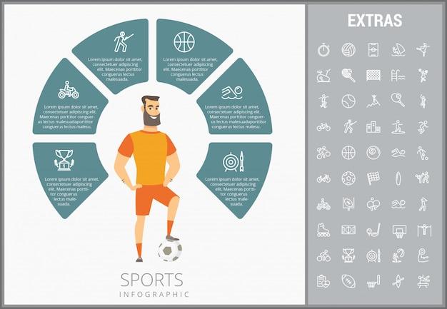 Modèle d'infographie sportive, des éléments et des icônes